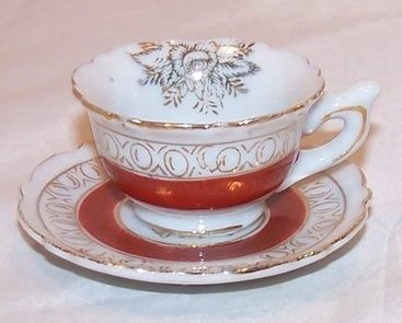 Miniature Teacup Cup w Saucer, Japanese, Occupied Japan