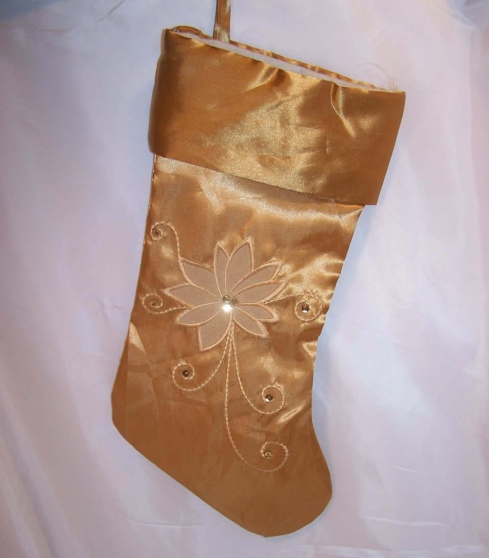 Christmas Stocking Gold Poinsetta Embroidery Sparkle