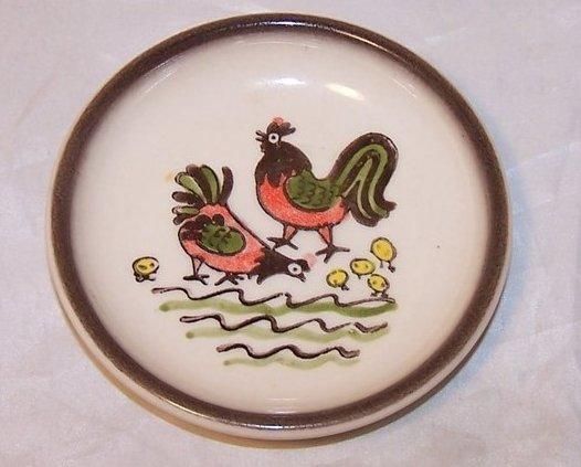 Chicken, Rooster, Chicks Butter Pat Plate, PoppyTrail, Metlox
