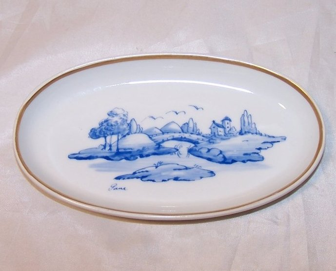 Image 0 of Limoges Dresser Pin Dish, Plate, w Bridge, Church, Hand Painted and Signed
