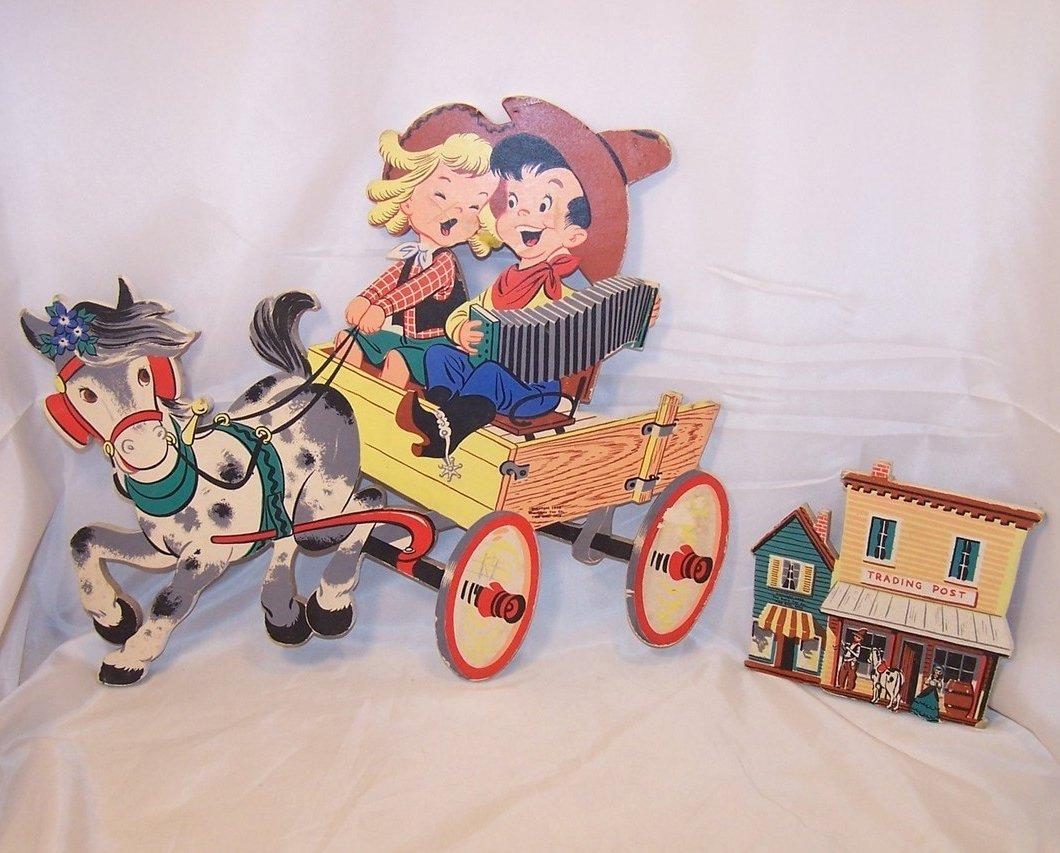 Singing Cowgirl, Cowboy on Wagon, Trading Post, Dolly Toy Co Nursery Wall Decor