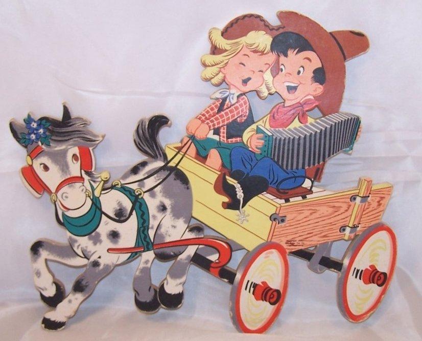 Dolly Toy Co., Singing Cowgirl, Cowboy on Wagon, Nursery Wall Decor
