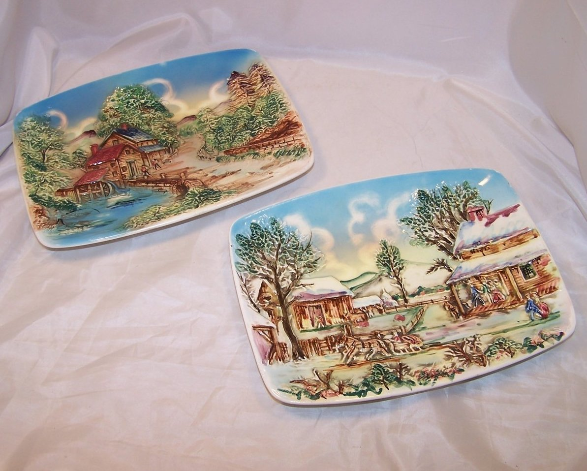 Image 0 of Set of Two Sculpted Ceramic Country Scenes, Chase, Japan Japanese