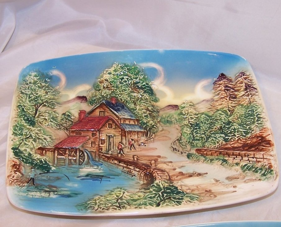Image 1 of Set of Two Sculpted Ceramic Country Scenes, Chase, Japan Japanese