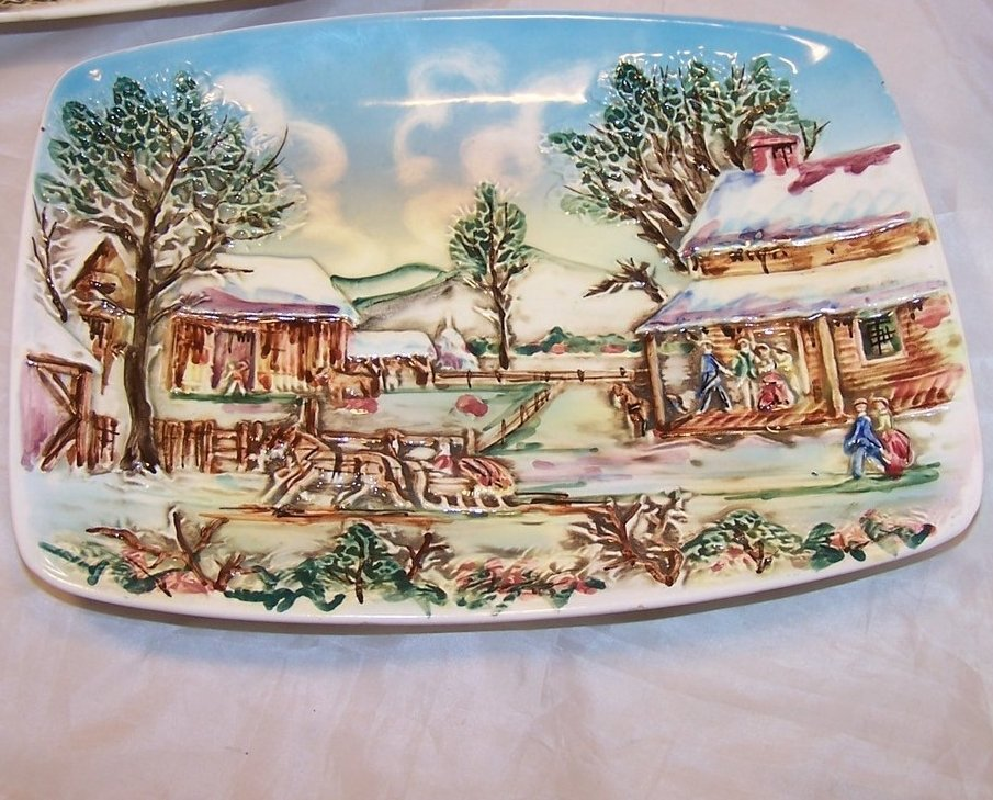 Image 2 of Set of Two Sculpted Ceramic Country Scenes, Chase, Japan Japanese