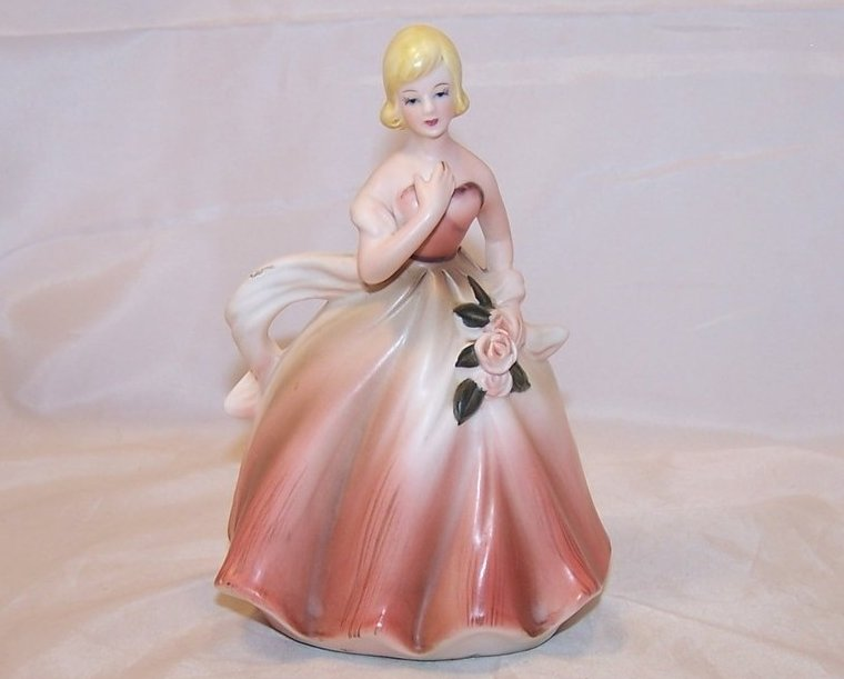 Lady in Ball Gown w Roses, Vintage Planter, Napcoware