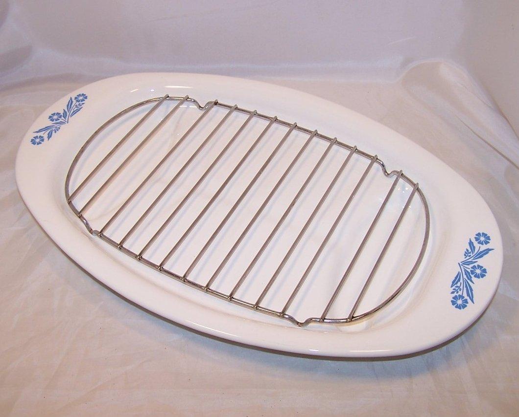Corningware Roasting Serving Platter, Cornflower, P 19, Made in USA