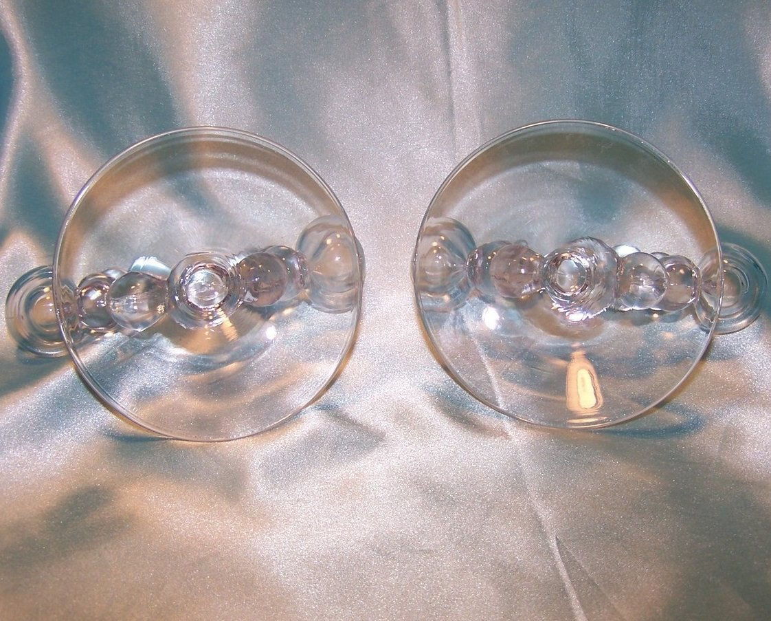 Image 2 of Vintage Clear Bubble Glass Candlesticks