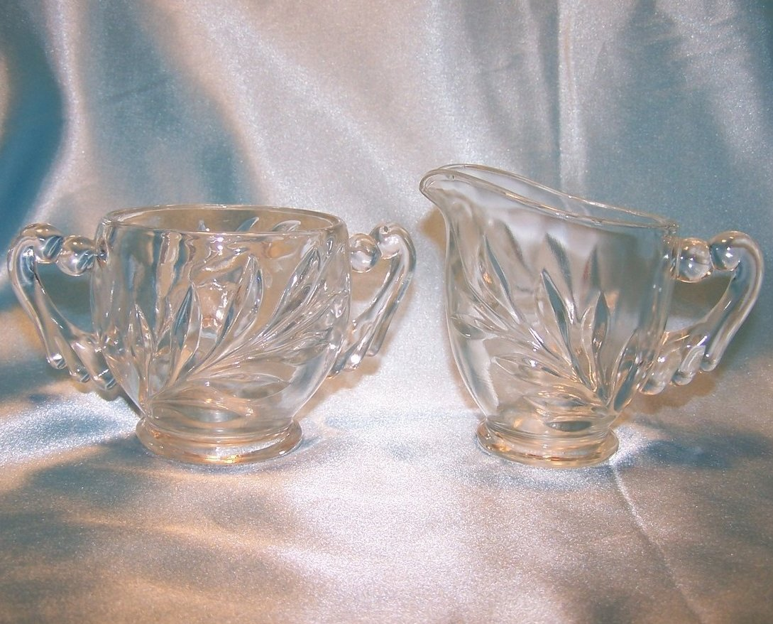 Pressed Glass Creamer Sugar Bowl W Draped Handles Vintage