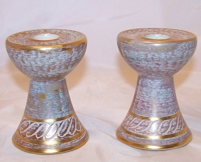 Taper Candlestick Pair, Hand Painted Stangl Pottery 4064, Candlesticks
