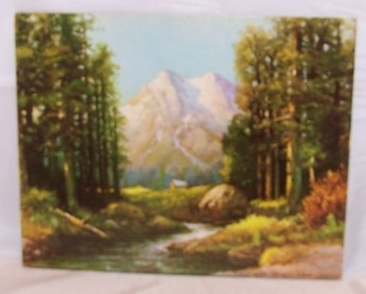 Majestic Peaks Mountain, Wilderness Scene, Robert Wood Lithograph, USA