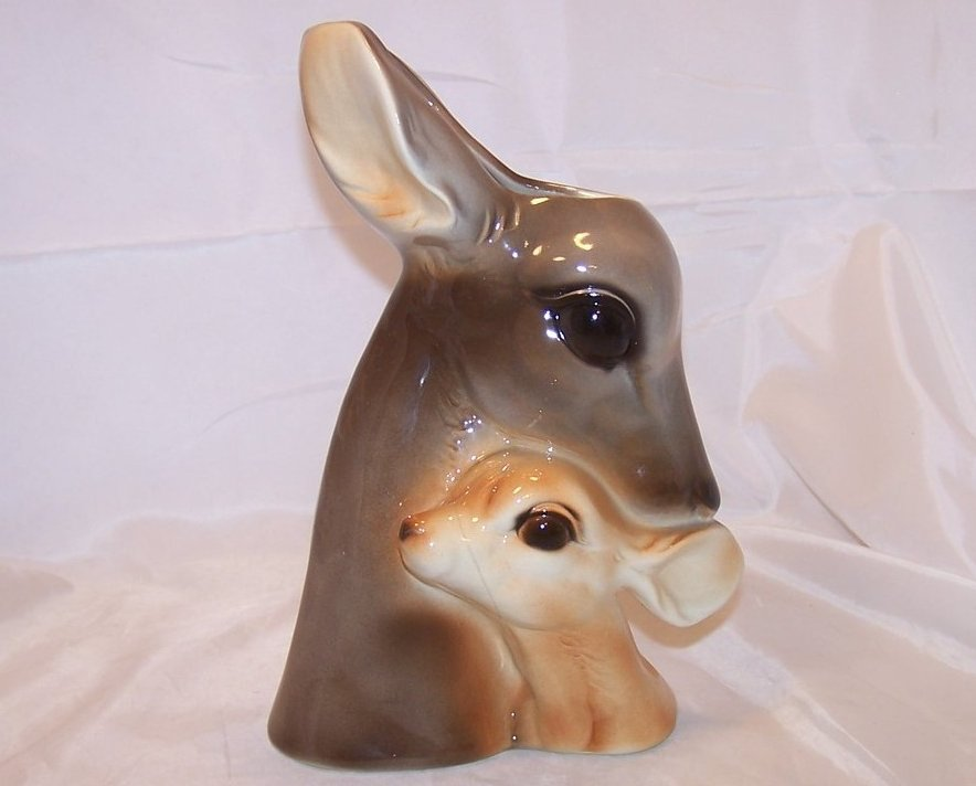 Image 0 of Royal Copley Deer, Doe and Fawn Head Vase