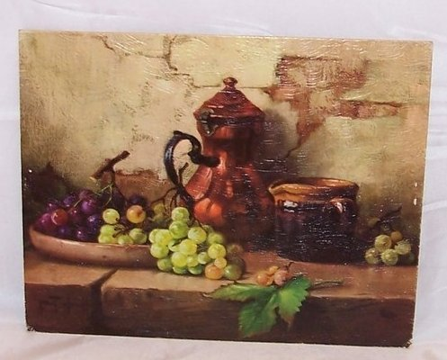Copper Pitcher Still Life w Grapes, Robert Chailloux Lithograph, USA