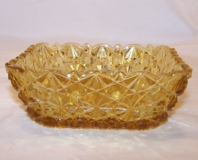 Image 1 of Daisy and Button Pattern Pressed Glass Sauce Dish, Yellow