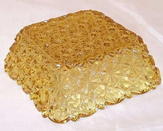 Image 2 of Daisy and Button Pattern Pressed Glass Sauce Dish, Yellow