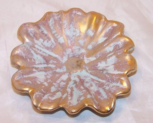 Daisy Flower Shallow Bowl, Dish, Ashtray Stangl Gold and Aqua, Ash Tray