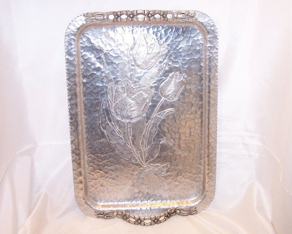 Clean and Bright Tulip Aluminum Serving Tray, Rodney Kent Silver Co