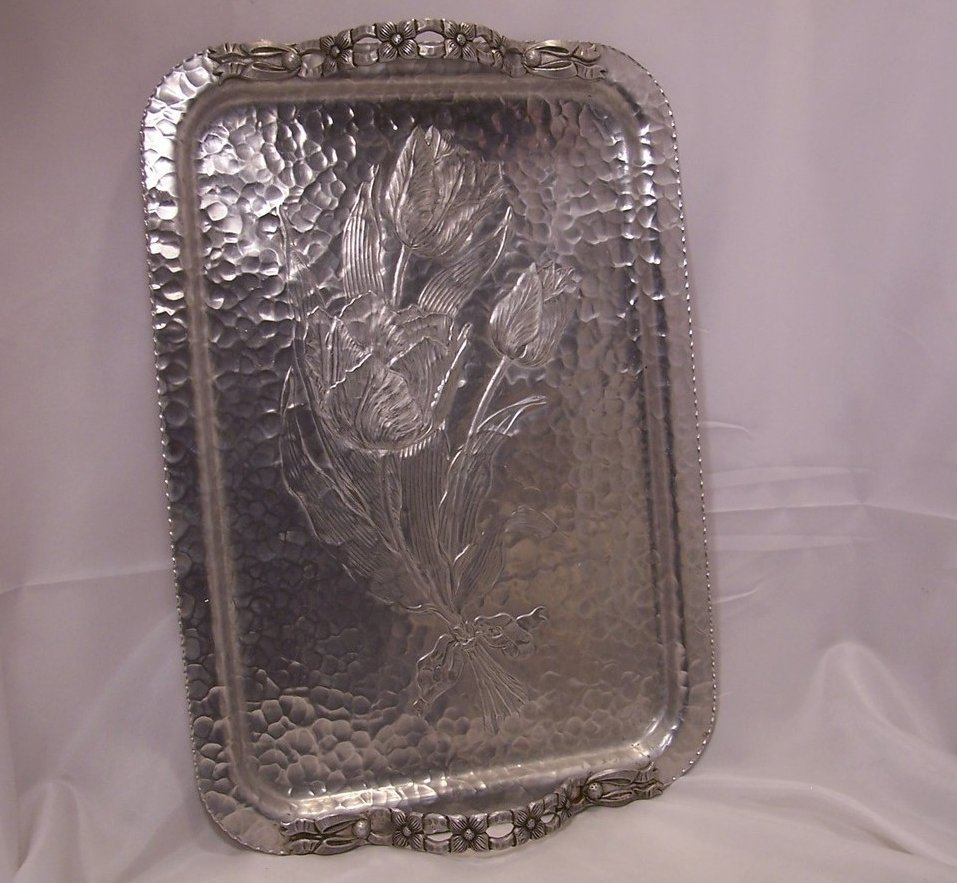 Image 1 of Clean and Bright Tulip Aluminum Serving Tray, Rodney Kent Silver Co