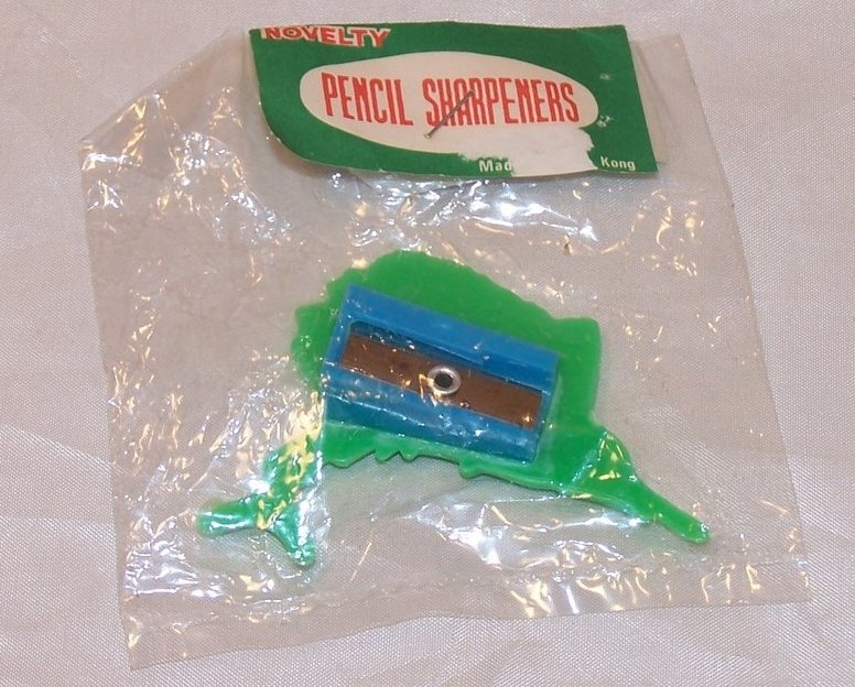 Image 3 of Green Plastic Swordfish Pencil Sharpener, Vintage Seventies