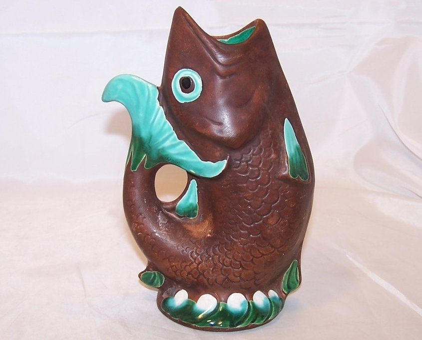 Leaping Fish Vase, Brown w Green and White, Woodland