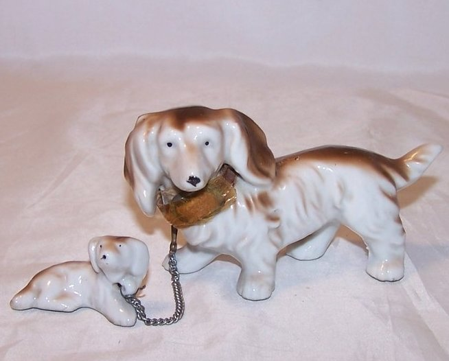 Two Linked Long Haired Dachshund Dogs, Mom or Dad and Pup, Vintage Japan, Japane