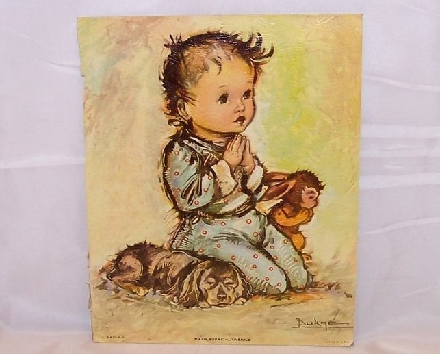 Praying Child and Bunny w Puppy, Bukac Lithograph, DAC, USA
