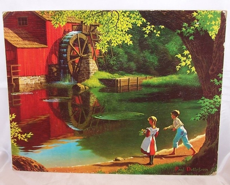 Red Watermill w Children, Child, Detlefsen Lithograph