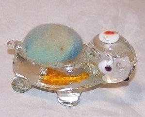 Glass Turtle Pincushion w Hidden Heart