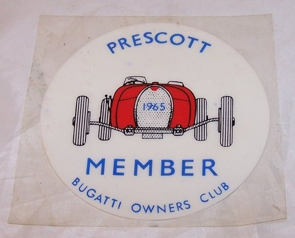Bugatti Owners Club Window Cling, Prescott Member, 1965