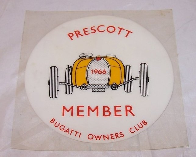 Bugatti Owners Club Window Cling, Prescott Member, 1966