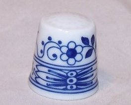 Thimble Blue, White Flower Motif, Hutschenreuther Germany