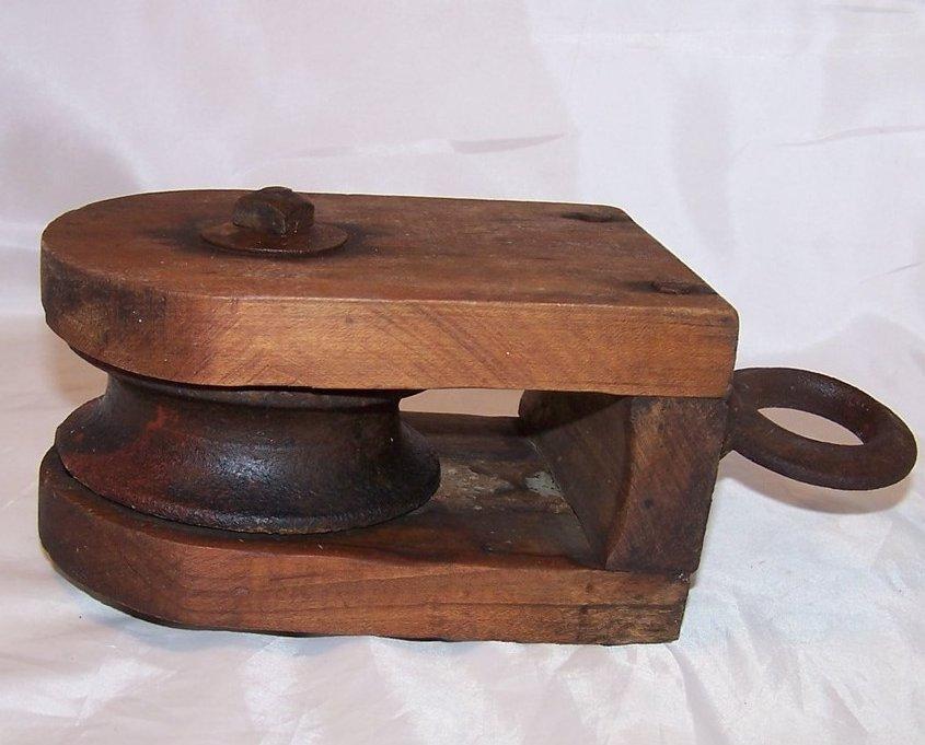 Image 2 of Wood and Iron Pulley Wheel w Hanging Loop, Handmade Vintage