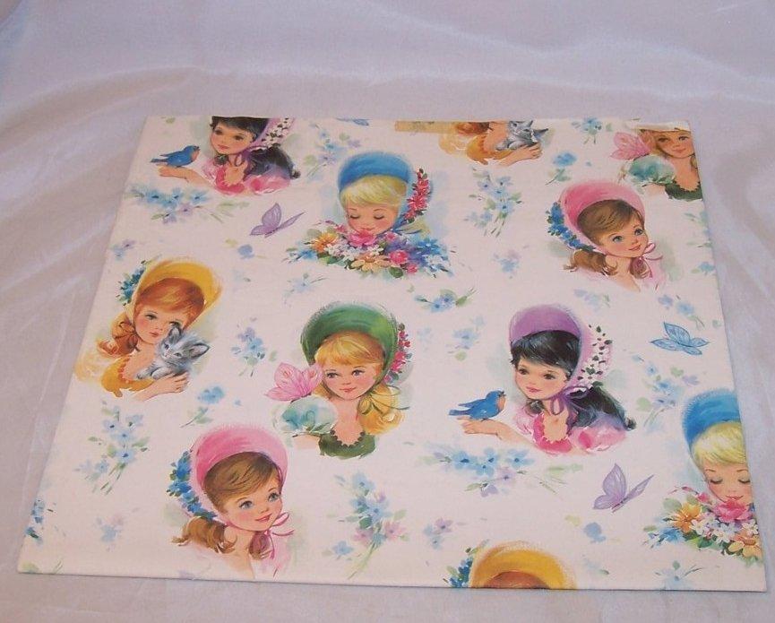 Girls in Bonnets w Birds, Kittens, Butterflies, Vintage Gift Wrapping Paper