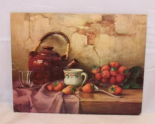 Teapot Still Life w Strawberries, Robert Chailloux Lithograph, USA