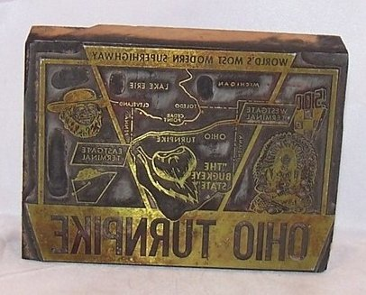 Ohio Turnpike Brass and Wood Stamp, Antique