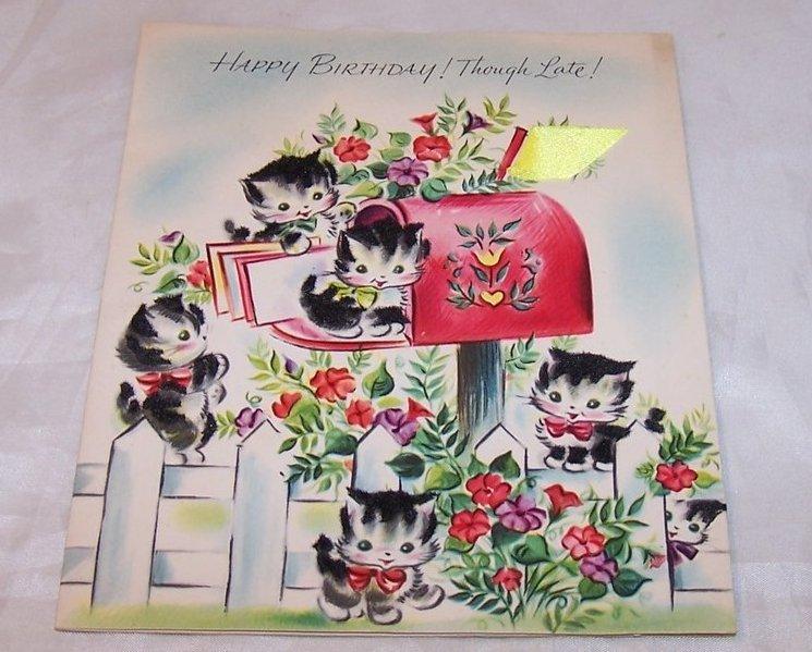 Fuzzy Kitten Belated Birthday Card, Vintage, Unused, Art Guild of Williamsburg