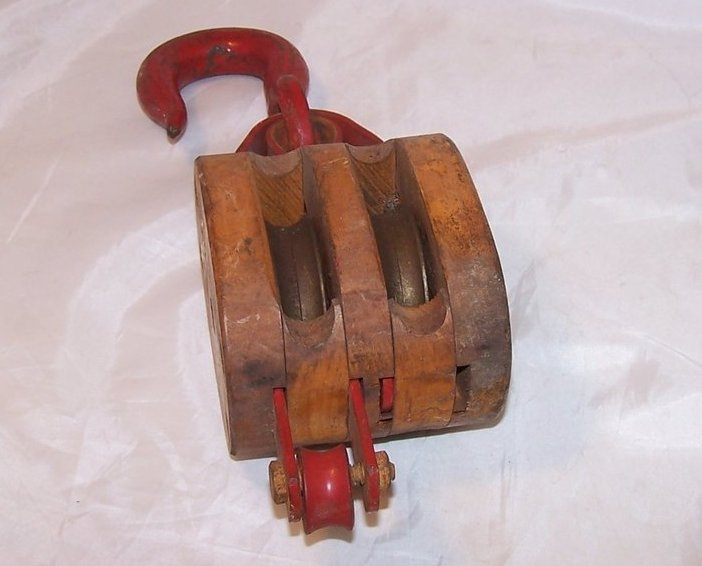 Image 0 of Double Wheel Wood and Iron Pulley w Hook, Handmade Vintage