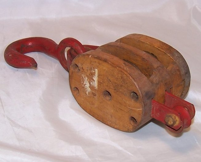 Image 2 of Double Wheel Wood and Iron Pulley w Hook, Handmade Vintage