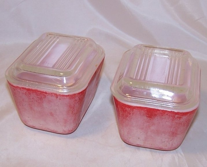 Pair of Pyrex Red Refrigerator Glass Dish, Lid
