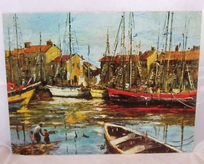 Boats in Harbor, Martin, DAC Lithograph, USA