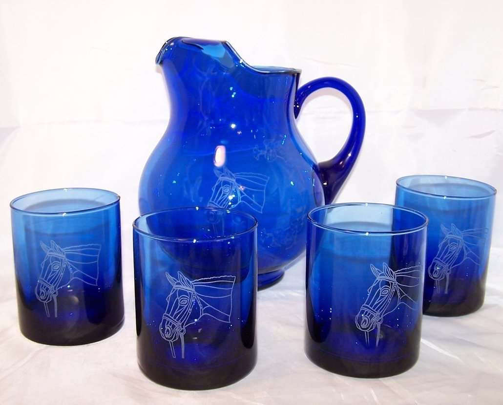 Image 0 of Horse Design Cobalt Blue Pitcher and Glasses Glass