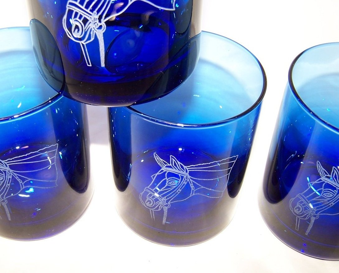 Image 1 of Horse Design Cobalt Blue Pitcher and Glasses Glass