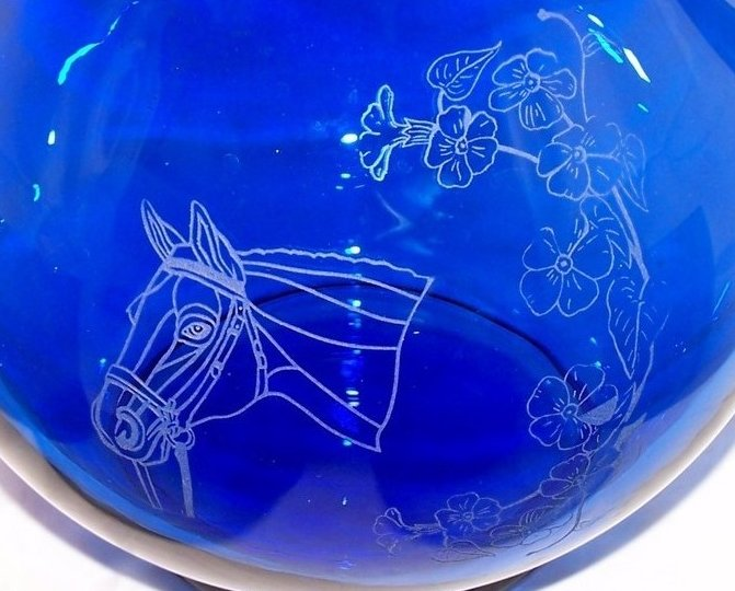 Image 2 of Horse Design Cobalt Blue Pitcher and Glasses Glass