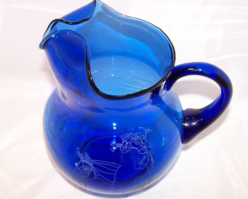 Image 3 of Horse Design Cobalt Blue Pitcher and Glasses Glass