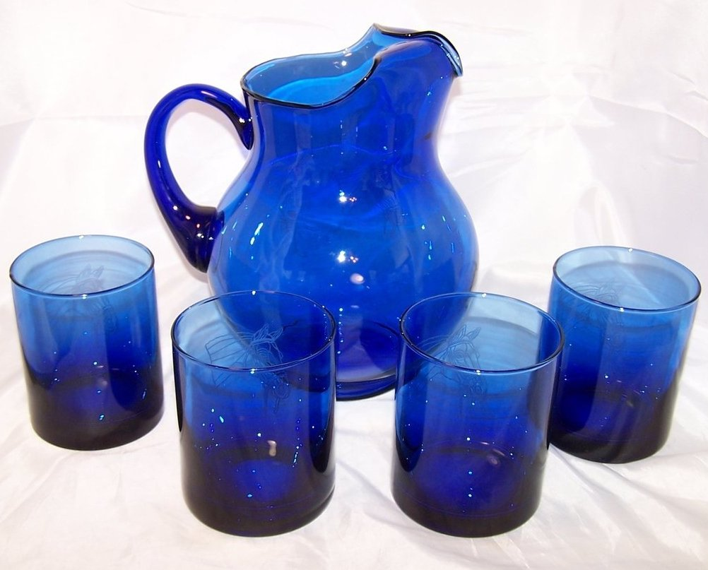 Image 4 of Horse Design Cobalt Blue Pitcher and Glasses Glass