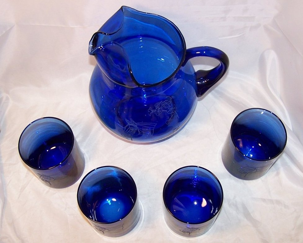 Image 5 of Horse Design Cobalt Blue Pitcher and Glasses Glass