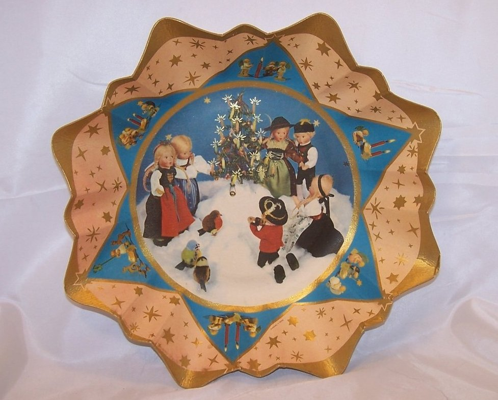 German Paper Serving Bowl, Vintage,  Christmas Scene, Great Collectors Piece