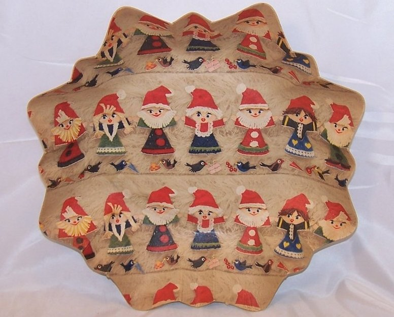 Christmas Elves German Paper Serving Bowl, Vintage, Great Collectors Piece