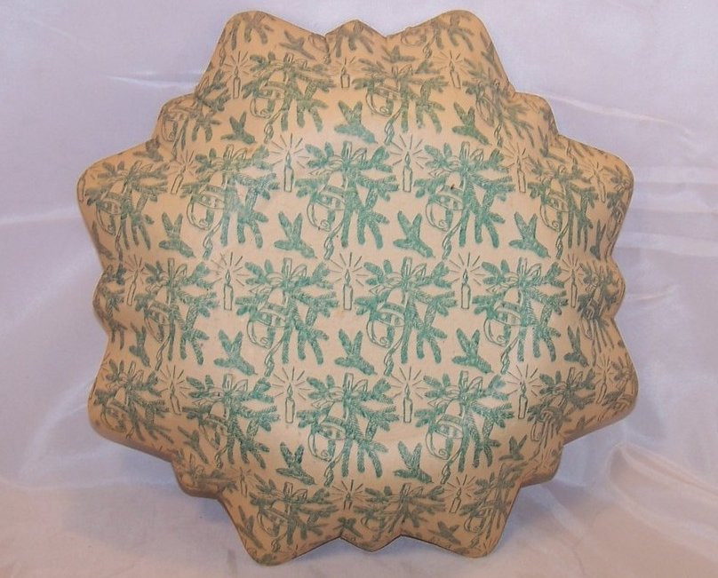 Image 1 of Christmas Elves German Paper Serving Bowl, Vintage, Great Collectors Piece