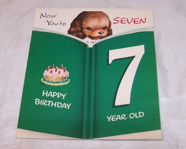 Birthday Card for Seven Year Old, Vintage, Unused, Norcross, New York